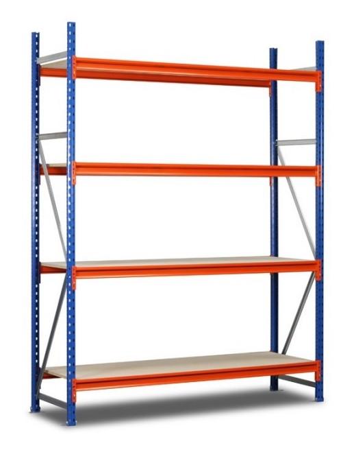 Rayonnage mi-lourd 4 plateaux orange et bleu